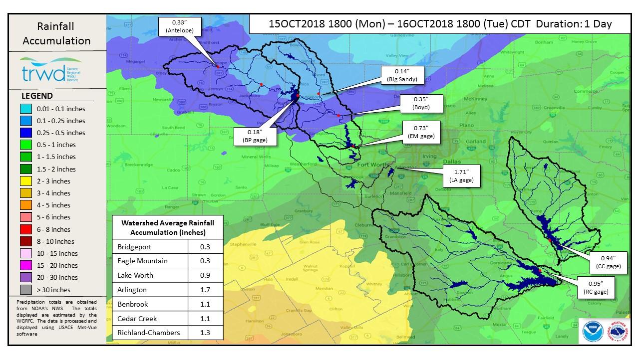 Rainfall Accumulation Map TRWD